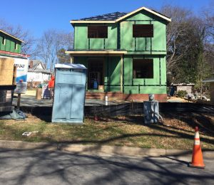 A new house under construction in Northside neighborhood. A loan from UNC-CH has allowed the Jackson Center to purchase properties to sell at an affordable rate in an attempt to raise the neighborhood's black population. (photo by Sofie DeWulf)
